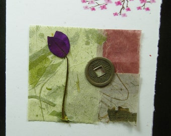 Thank You Card/ Hand Made Card/ Cherry Blossom/ Natural Flower/ Hand Made Paper/ Lucky Coin