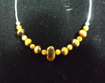 Sterling Liquid Silver Tiger Eye Necklace - Handmade