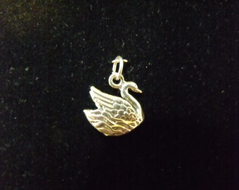 Sterling Silver Swans a Swimming 3D Charm/Pendant  - .925 3.1 grams
