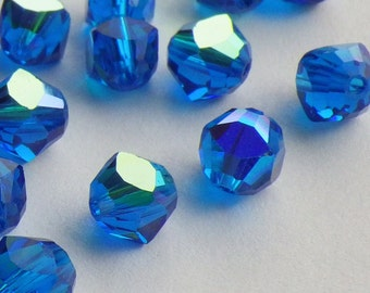 10 Vintage Swarovski Crystal Beads, 5mm Capri Blue With Aurore Boreale Finish, Article 5011, Blue Crystal Beads