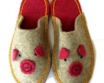 Hand-sewn Piggy Slipper or Kitty Cat Slipper