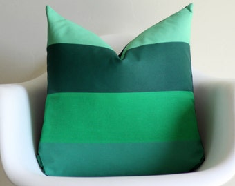 Green Ombre Stripes 20x20 Throw Pillow Cover