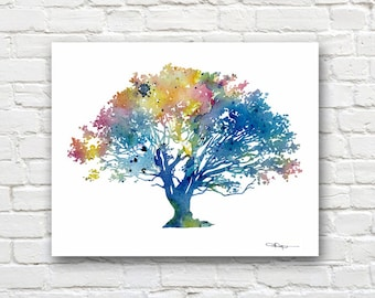 Oak Tree Art Print - Abstract Watercolor Painting - Wall Decor