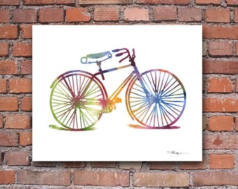 Vintage Bicycle Art Print - Abstract Watercolor Painting - Wall Decor
