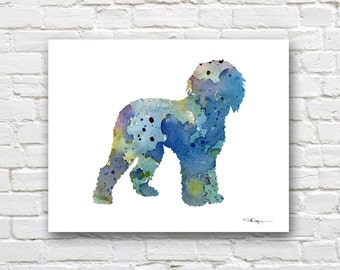 Blue Labradoodle Art Print - Abstract Watercolor Painting - Wall Decor