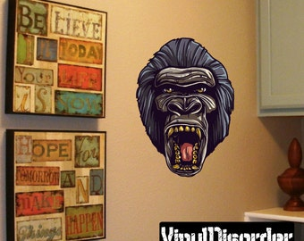 Wild Ape Wall Decal - Wall Fabric - Vinyl Decal - Removable and Reusable - ApesUScolor006