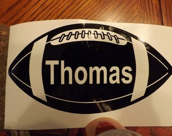 "Vinyl Personalized Football Vehicle Decal! Measures 6.5"" x  3.5""!"