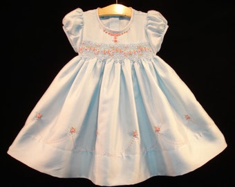 New boutique design hand embroidered smocked Dress - Size  2  3  4  5  6  7  8  9  10 Blue