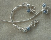 Hand Wrapped Pennanular Silver Wire Shawl Pin with pale blue pearls