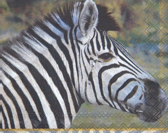 """African paper napkin serviette No 24. Wild  Animals. Zebra.  Ideal for decoupage, collage, scrapbooking. Size: 13"""" x 13""""(33cm x 33cm)"""