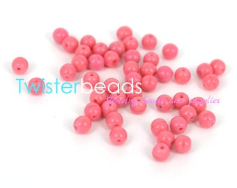 40 pc 4mm Czech pressed glass beads Milky Pink