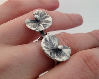 2 lilly pad two finger Sterling Silver ring