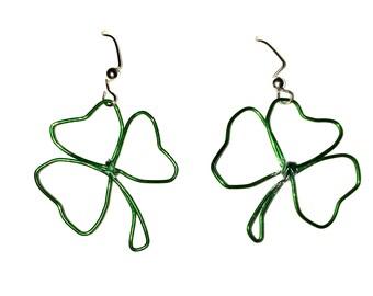 Hand Formed Green Lucky Irish St. Patricks Day Shamrock Three-Leaf Clover Wire Dangle Earrings
