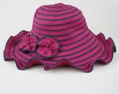 Stripe Flower Wave Summer Folding Wide Brim Hat