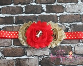 49ers headband, red & gold football Baby Headband Toddler Headband Newborn headband baby hair bow, Newborn photo prop, hair accessories, bow