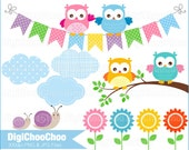 Baby Owls and Tree Branch Clip Art. For Baby Shower Invitations Cards Making. Personal and Small Commercial Use. DC 0033