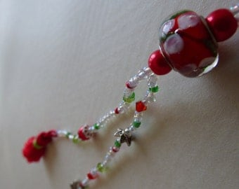 NECKLACE Indonesian red and white - Made in FRANCE