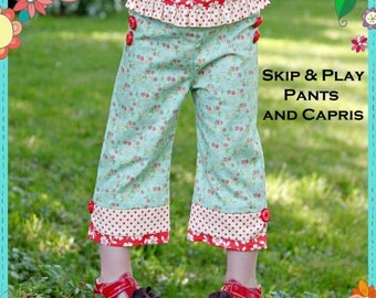 the COTTAGE MAMA pattern Skip and Play Pants for Girls 6m-10years