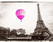 Pink Balloon in Paris black and white photo. Perfect for a babies nursery ( baby girl ), childs room or as a focal point in any room. Eiffel