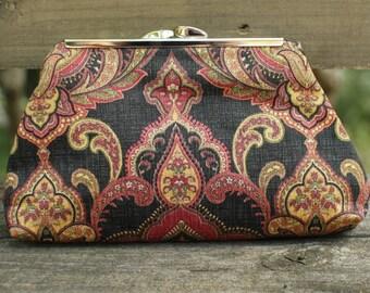 Silk Clutch, Black Clutch, Paisley Handbag