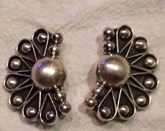 Vintage Signed Mexico Fan Sterling Silver 925 Mexican Earrings