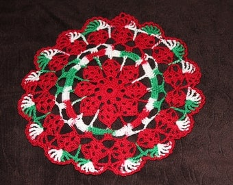 New Hand Crocheted Doily Christmas Holiday