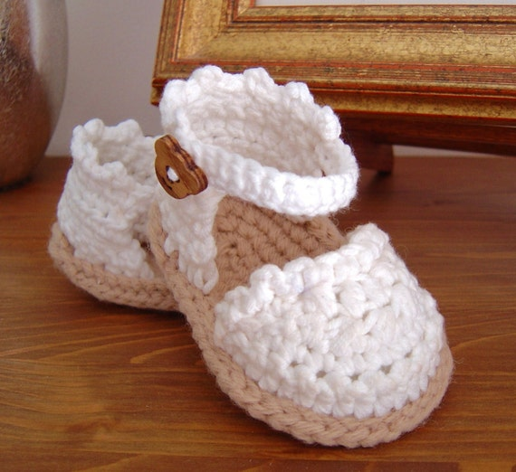 Simple Crochet Patterns For Baby Booties : CROCHET PATTERN Baby Espadrille Sandals instant by ...