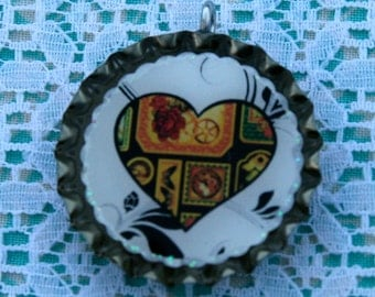 BOTTLE CAPS-Hearts, Rose