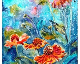 flowers - mounted original painting