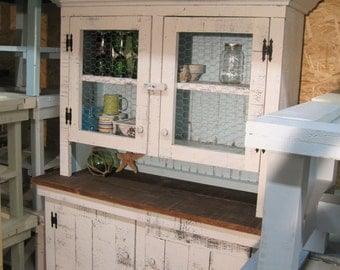 Rustic, Distressed, Hand Made, Shabby Chic, Pine China Cabinet