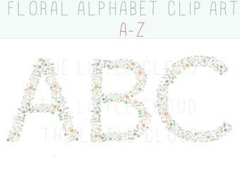 Floral alphabet clip art, floral letters, monogram letters, floral clipart floral monogram