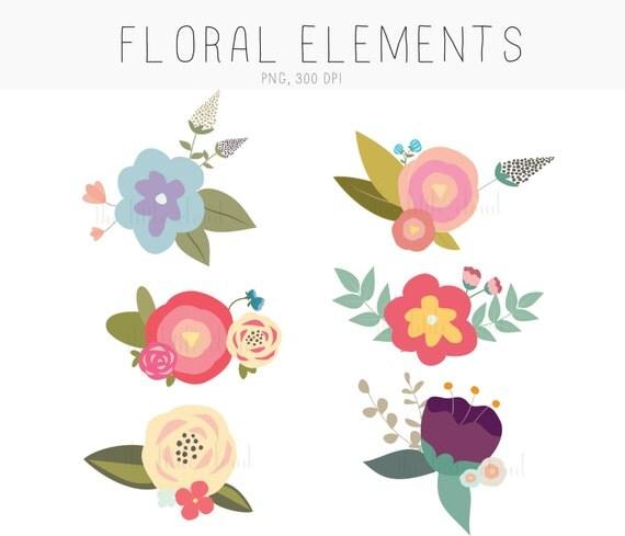 Unique floral elements hand drawn by me