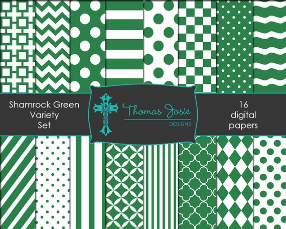 Shamrock Green Digital Paper Backgrounds Striped Digital Polka Dot Digital Chevron Digital Quatrefoil Pattern 8.5 x 11 - Instant Download