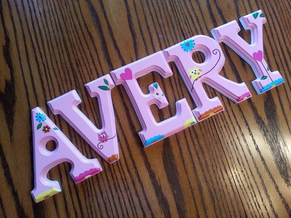 6 Inch Etched Sides Custom Hand Painted Wall Letters Personalized Baby Nursery Wall Name Decorative Wood Letters Priced per Letter