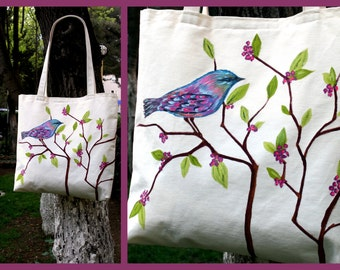 Handmade-Fabric Painting Canvas Tote Bag