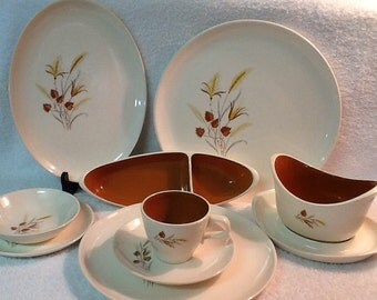 Vintage 47 Pc. Taylor Smith & Taylor Dish Set <> Dinnerware Set <> Service for Eight <> Autumn Harvest <> EXCELLENT CONDITION <> 1950's