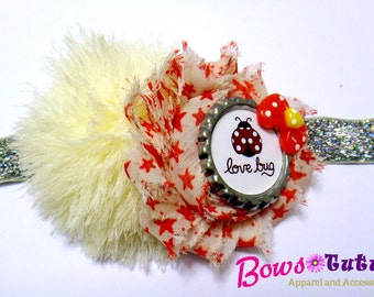 Lady Bug Love Bug Shabby Flower Headband