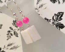 Hot Pink crackled glass and white mother-of-Pearl Dangle earrings perfect for summer fun