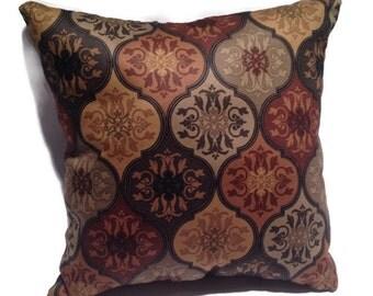 Decorative Throw Pillow, Dark Colors, Designer Fabric, Home Decor