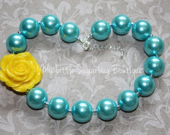 Turquoise Chunky Necklace-Bubblegum Necklace-Baby-Toddler-Girls-Women