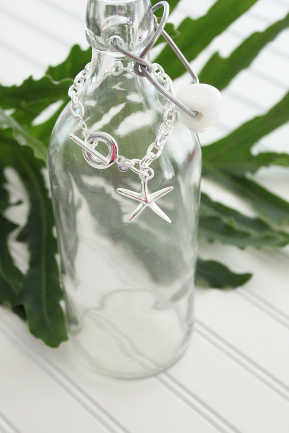 Starfish Necklace on Link Chain with Toggle Clasp- Sterling Silver