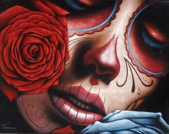 Mexican catrina skull girl black velvet oil painting handpainted signed art No.2