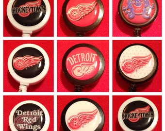 Detroit Red Wings ID Badge Name Tag Holder Retractable Reel Perfect For Nurse, RN, CNA, Teacher, Billard Player, Sports
