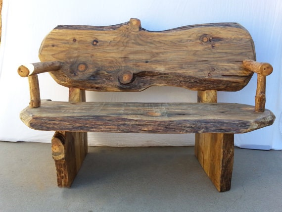 Items Similar To Rustic Log Wood Bench Handcrafted