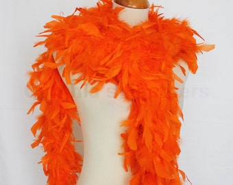 "65g, 72"" bright orange chandelle feather boa for decoration, bacheloratte party, etc. SKU: 8B31"