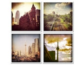 Quadriptych vintage look urban photography: four square prints, Toronto cityscapes. Retro style. Cool gift for male or female.