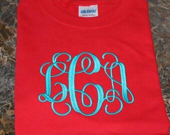 Monogrammed Long Sleeve Tee Shirt in 2X or 3X
