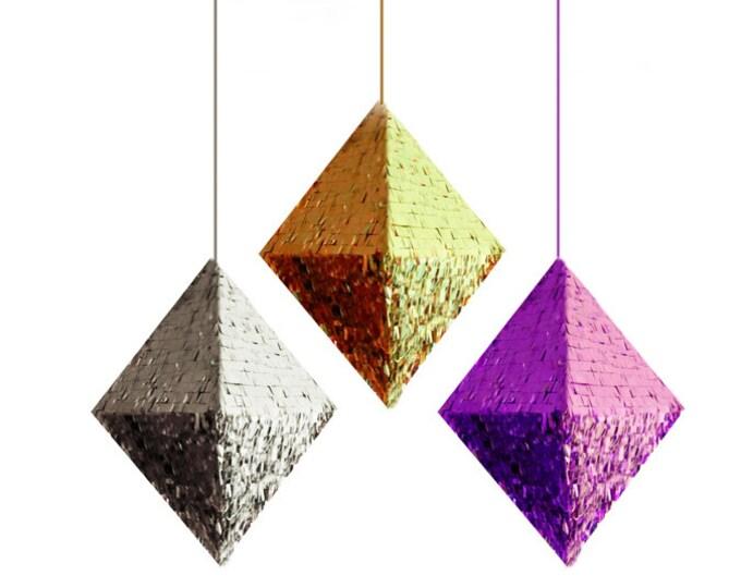Piñata , HUGE Diamond in Metallic Gold, Silver, Purple, or Rose Gold , Pyramid Piñata , Octahedron Piñata , Wedding Decor , Gender Reveal