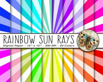 Rainbow Sun Rays Digital Paper, Digital Rainbow Rays, Digital Sun Ray Paper, Instant Download