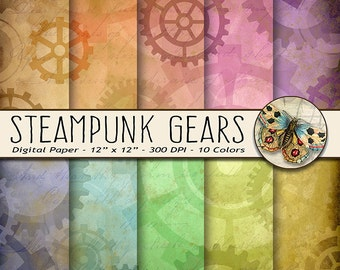 Steampunk Gears Background Paper, Steampunk Gears Digital Scrapbooking Paper, Set of 10 Colors, Instant Download